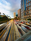A busy street in downtown Los Angeles, California