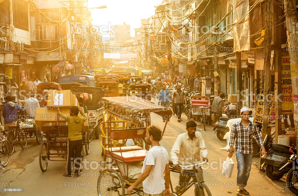 Busy street in New Delhi stock photo
