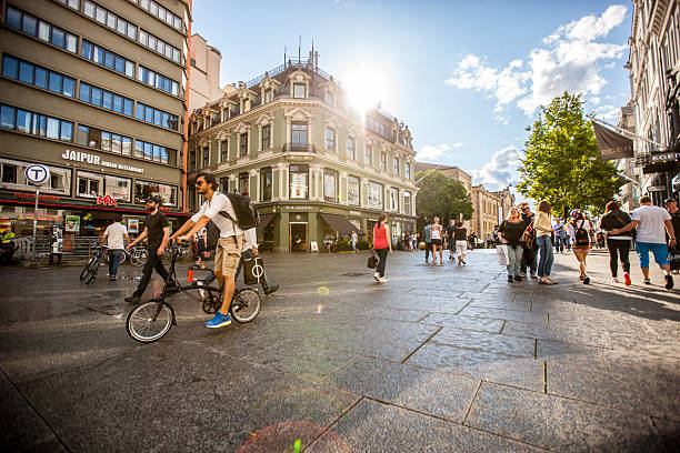 Busy street in Oslo city center, Norway stock photo