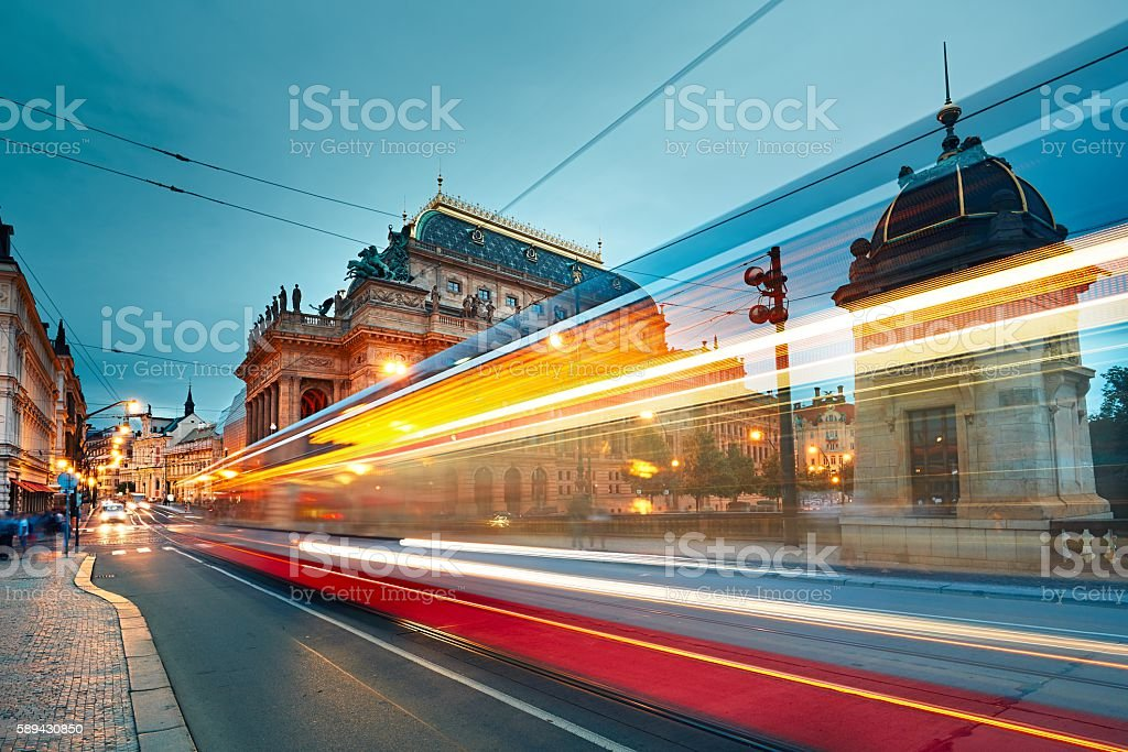 Busy street in Prague stock photo