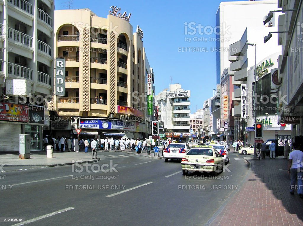 Busy street in the Deira district of Dubai in the United Arab Emirates stock photo