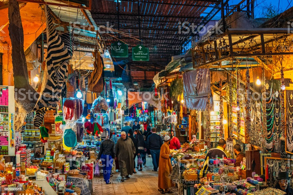 Busy street in the souks of Marrakech, Morocco stock photo