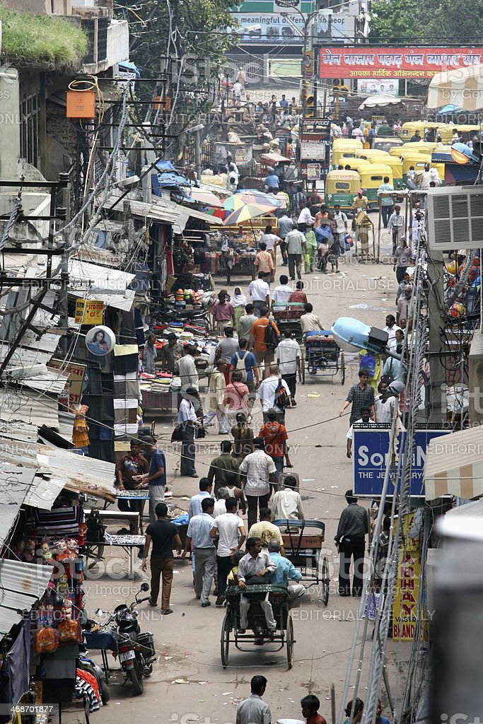 \'New Delhi, India - August 1, 2008: Vendors, tourists and locals fill...