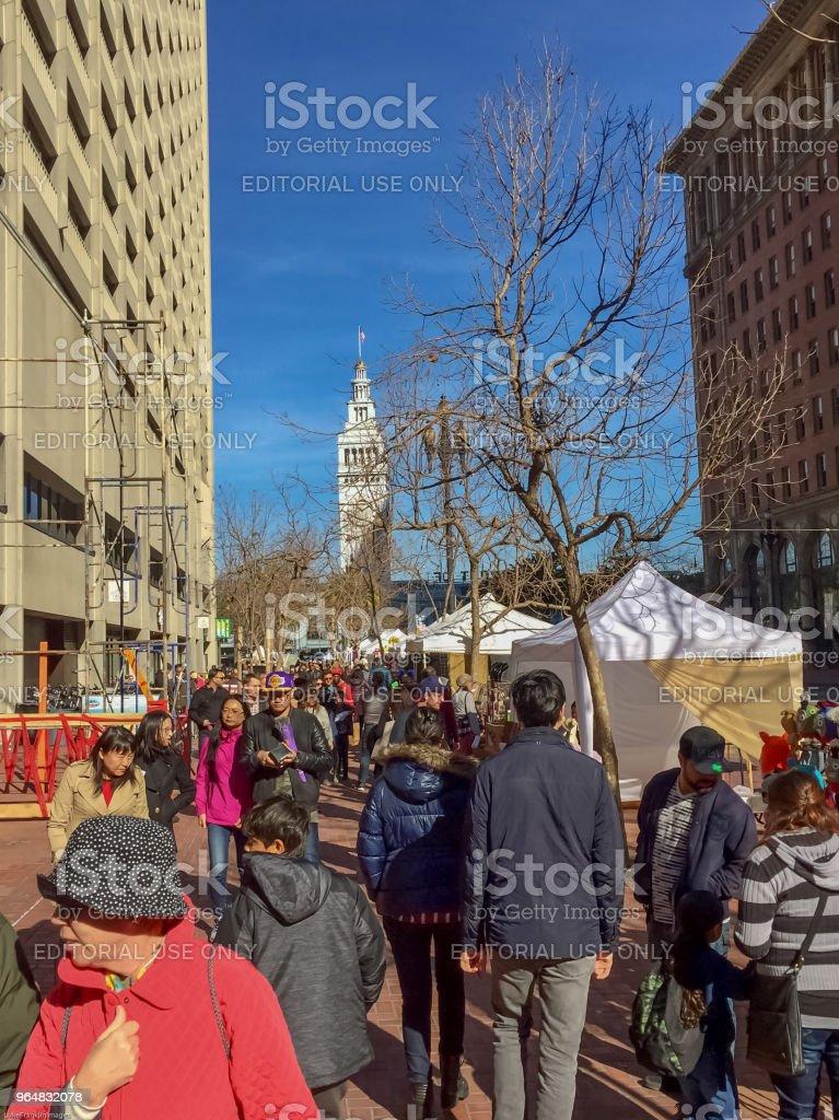 Busy street market royalty-free stock photo
