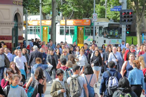 Busy street Melbourne Australia stock photo