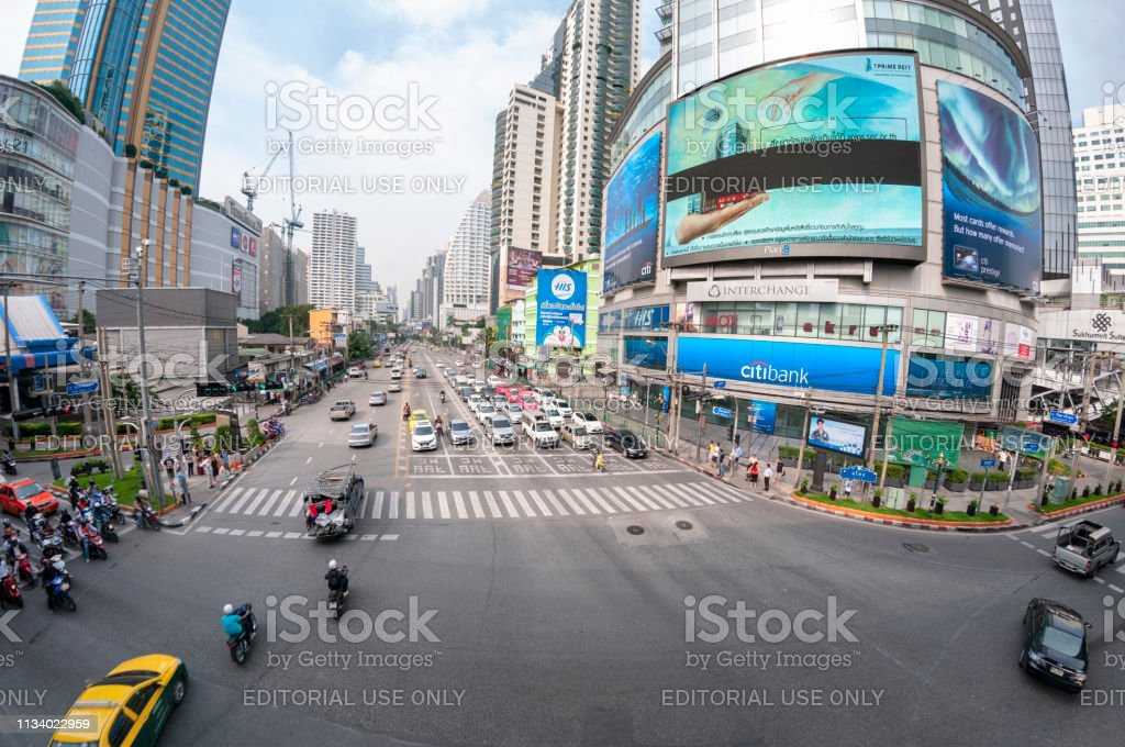 Busy Street Scene In Bangkok, Thailand stock photo