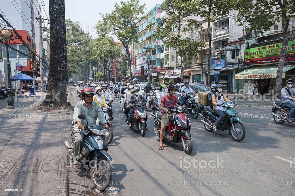 Busy Street Scene In Ho Chi Minh City, Vietnam stock photo