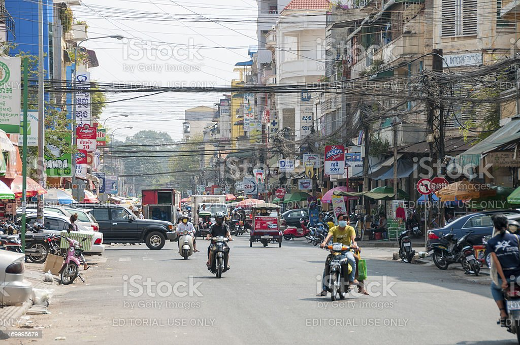 Busy Street Scene In Phnom Penh, Cambodia royalty-free stock photo
