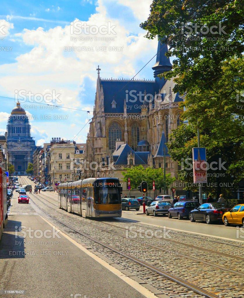 BRUSSELS, BELGIUM . Busy street traffic on the Rue de la Regence...