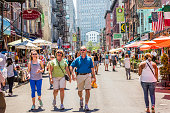 istock Busy street with pedestrians in Little Italy 665132860