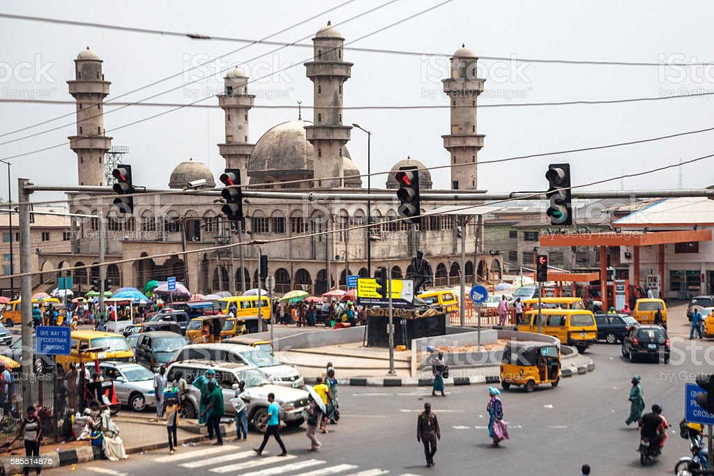 Busy streets in Lagos, Nigeria. stock photo