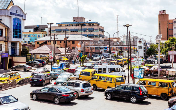 Busy streets in Lagos, Nigeria, West Africa stock photo