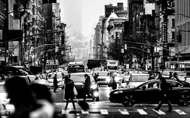 Busy streets in New York City stock photo
