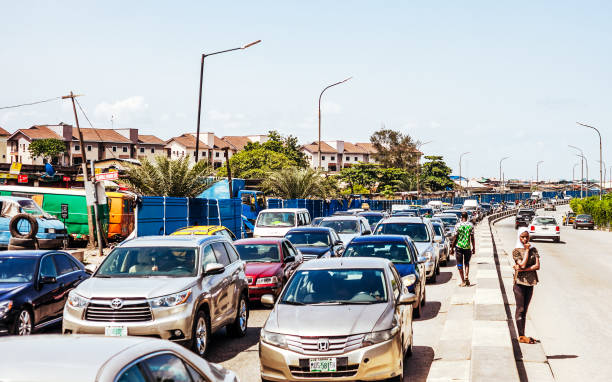 Busy streets of African city - Lagos, Nigeria stock photo