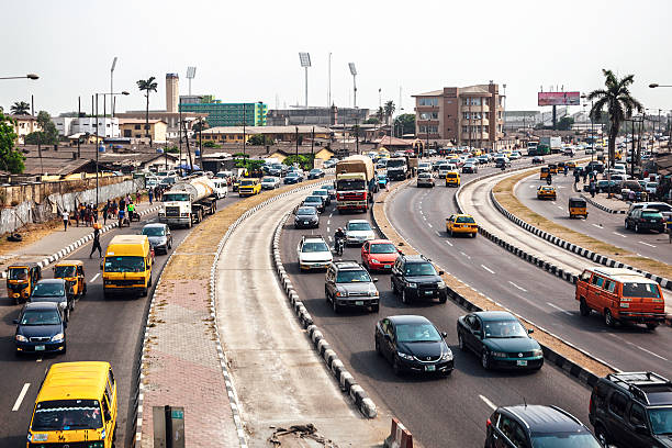 Busy streets of African city. Lagos, Nigeria. stock photo