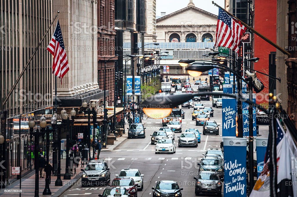 Busy streets of Chicago downtown. stock photo