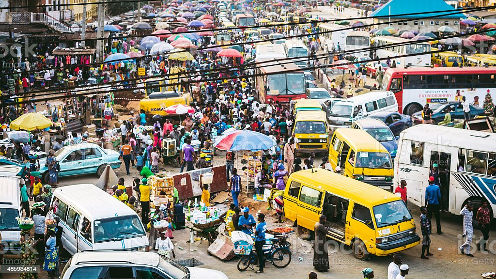 Busy streets of Lagos, Nigeria. stock photo