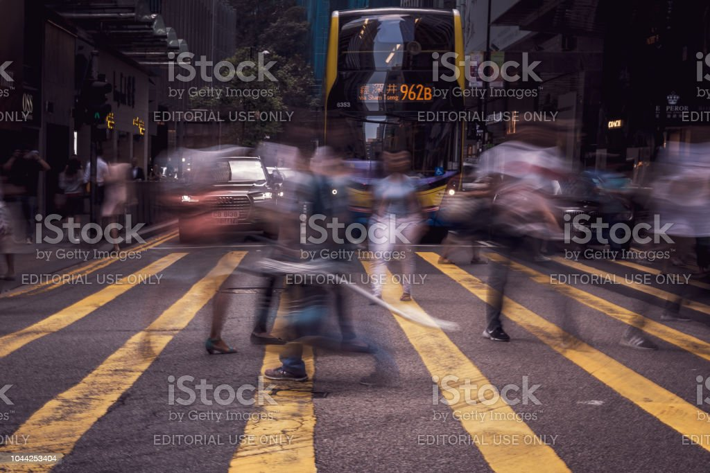 Busy streets of Queen\'s Road Central District Hong Kong. Streets...