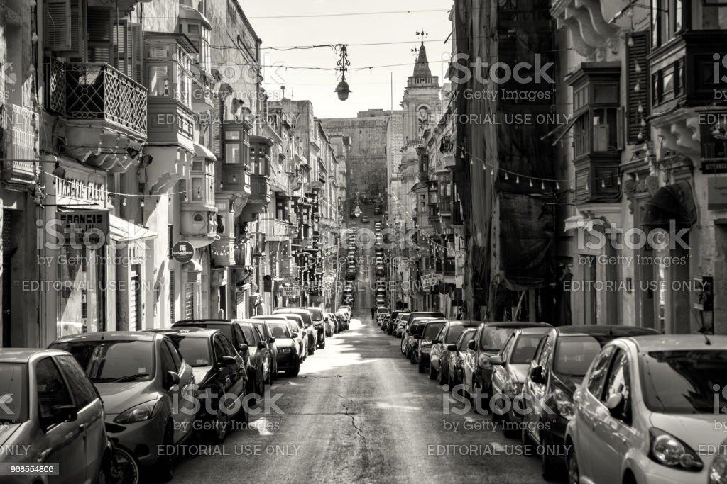 Busy streets of Valletta, Malta stock photo