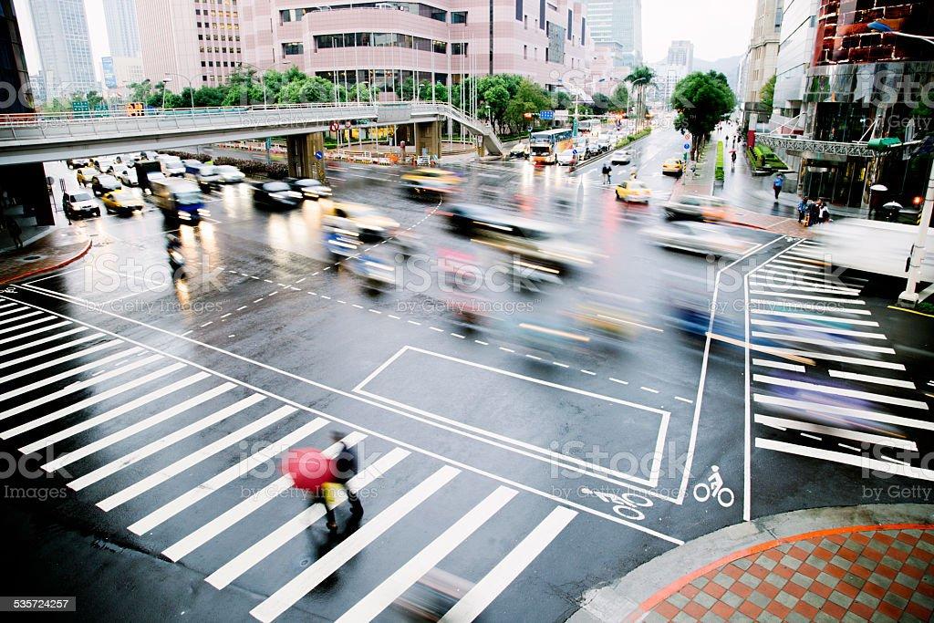 Busy Taipei road junction, Taiwan stock photo