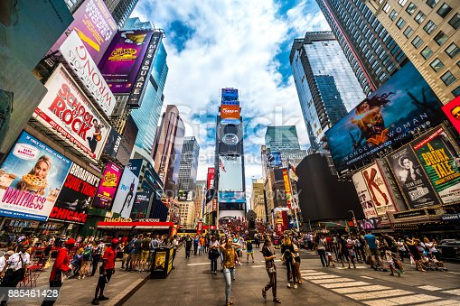 istock Busy Times Square in NYC. The place is famous as world's busiest place for pedestrians and an iconic landmark for thousands of tourists in Manhattan. 885461428