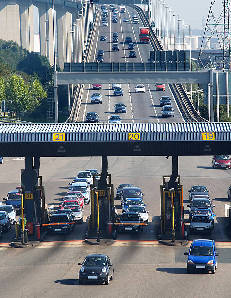 Busy toll bridge on a sunny day  stock photo