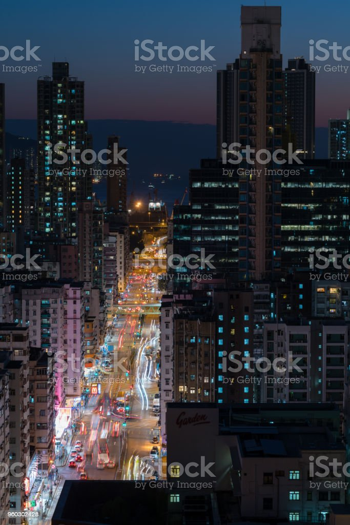busy traffic at blue hours stock photo