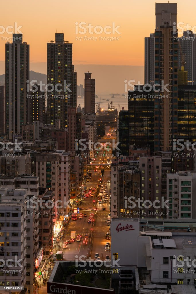 busy traffic at dusk stock photo