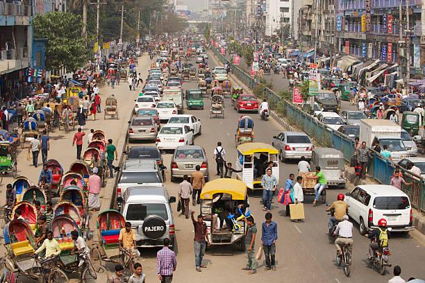 한산합니다 트래픽을 중앙 시티, 방글라데시 다카 스톡 사진