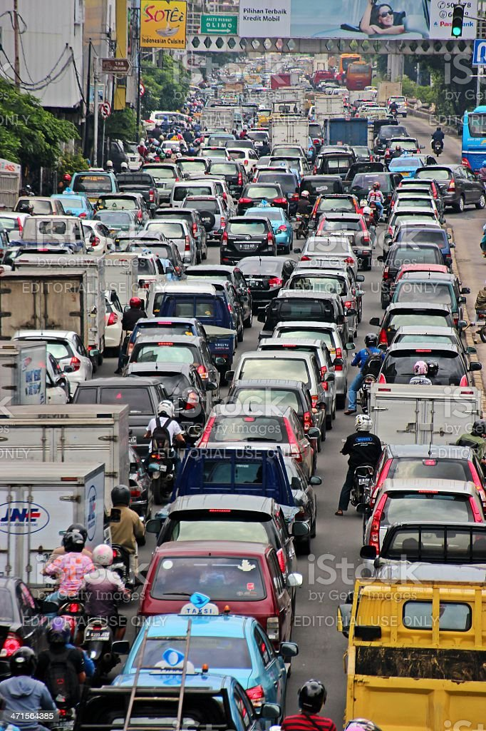 Busy traffic during rush hour in Jakarta, Indonesia royalty-free stock photo