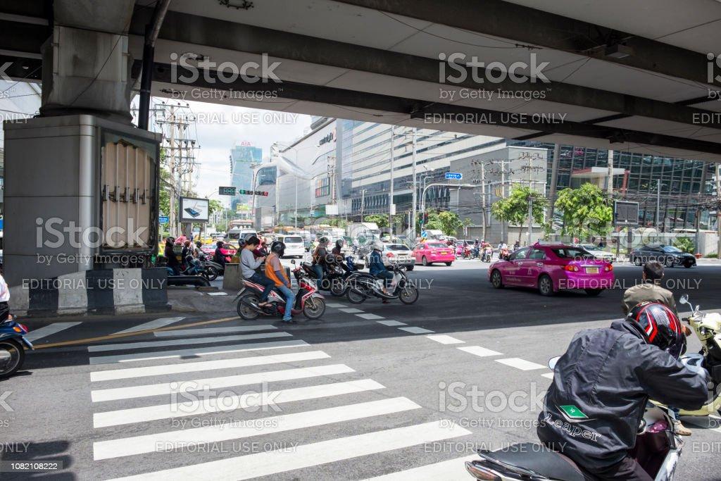 Busy Traffic In Bangkok, Thailand stock photo