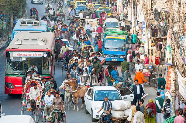한산합니다 트래픽을 street, 방글라데시 다카 스톡 사진