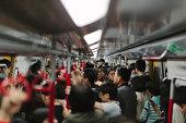 A busy train in Hong Kong.