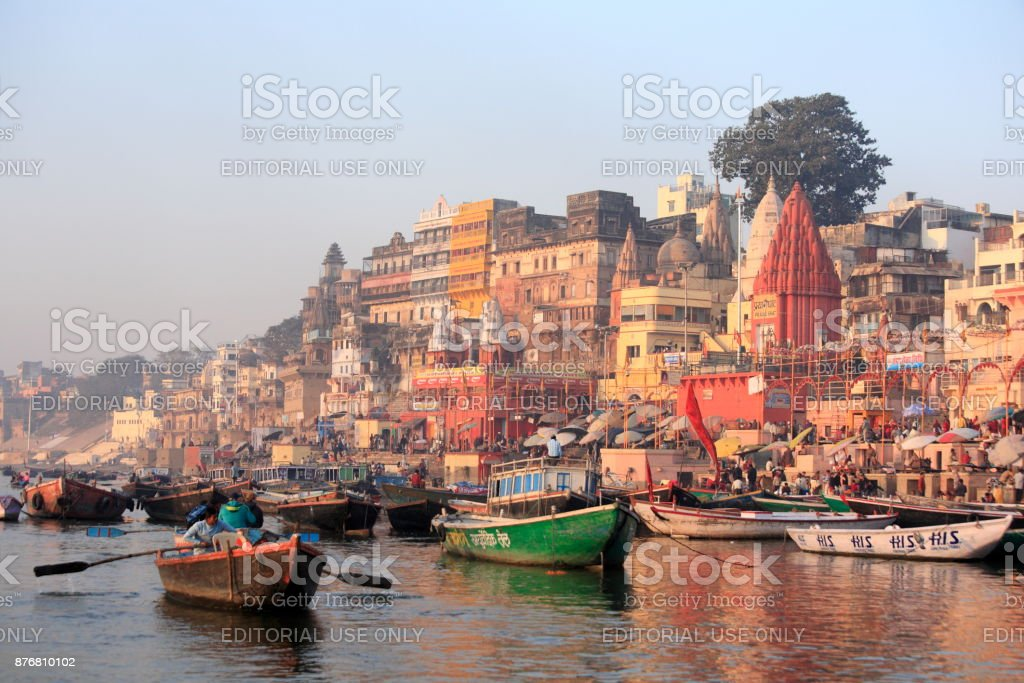 Busy Varanasi harbor stock photo