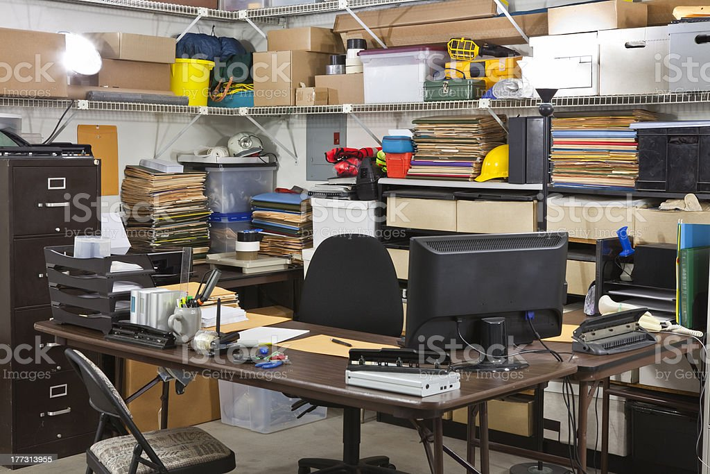 Busy Warehouse Office Shipping and Receiving Desk stock photo