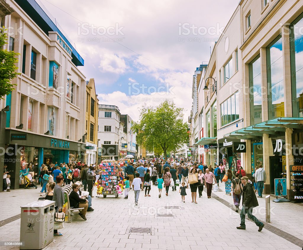 Busy weekend shopping street royalty-free stock photo