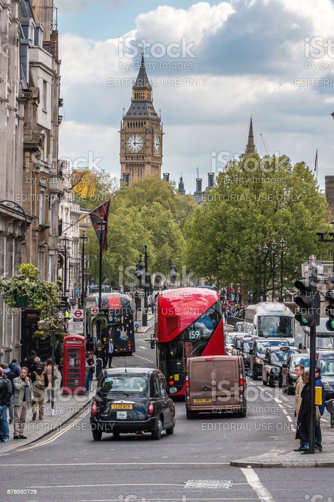 Busy Whitehall in London stock photo