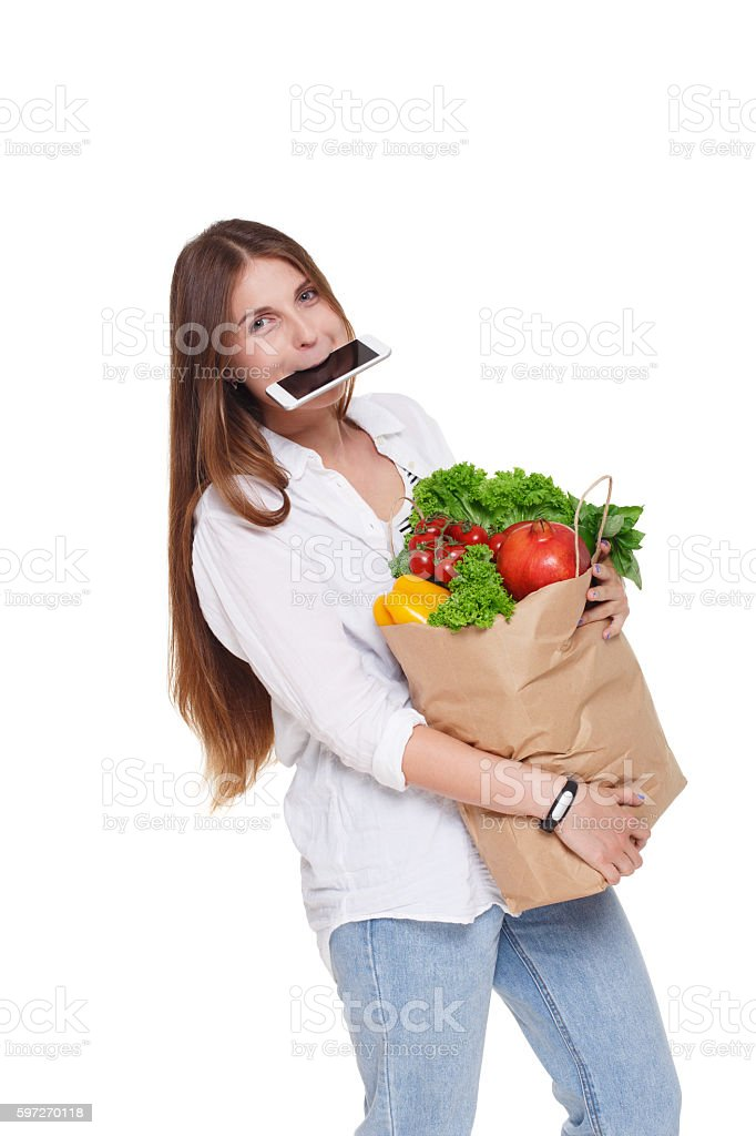 Busy woman hold bag with healthy food, grocery buyer isolated Lizenzfreies stock-foto