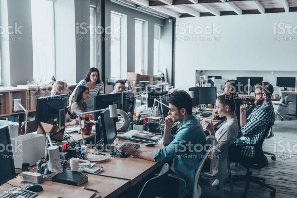 Busy working day. stock photo