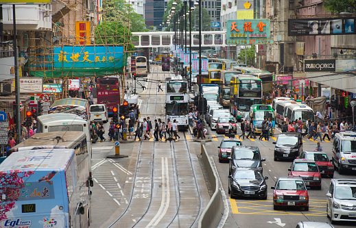 Busy Zebra Crossing In Hong Kong Stock Photo - Download Image Now