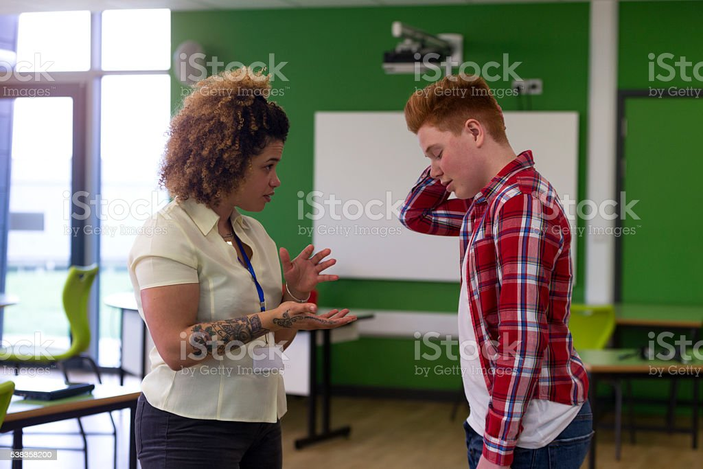 But Miss, it wasn't my fault! stock photo