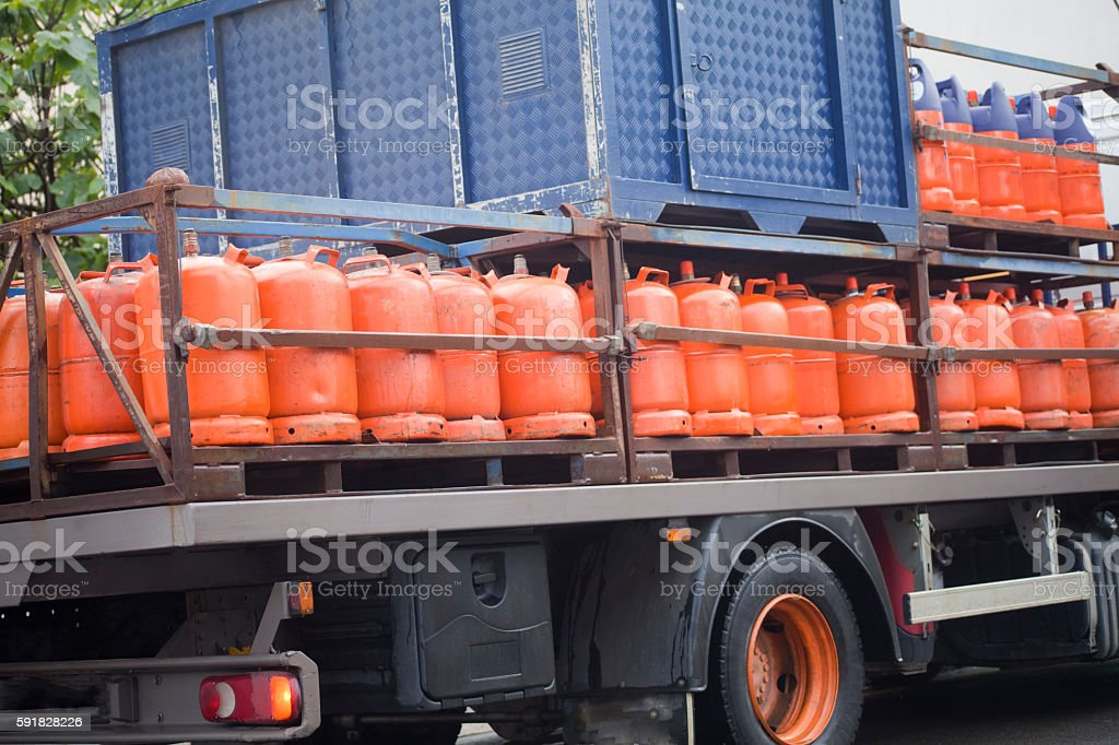 Butane gas cylinder delivery truck. stock photo