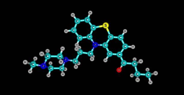 在黑色上分離的丁卡嗪分子結構 - naegleria fowleri 個照片及圖片檔