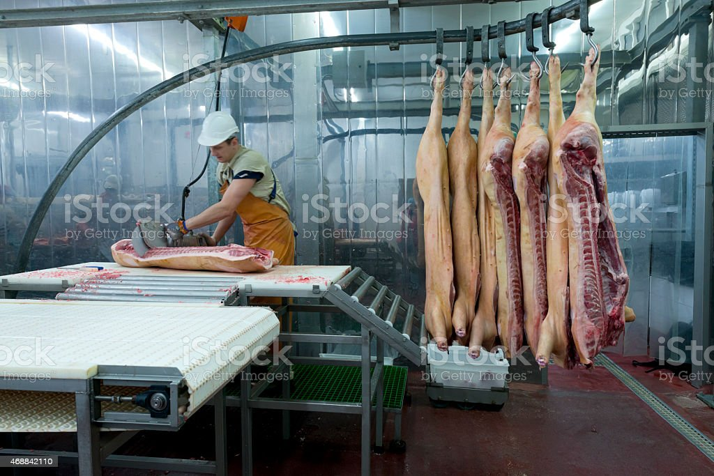 A butcher cutting meat in a food processing plant stock photo