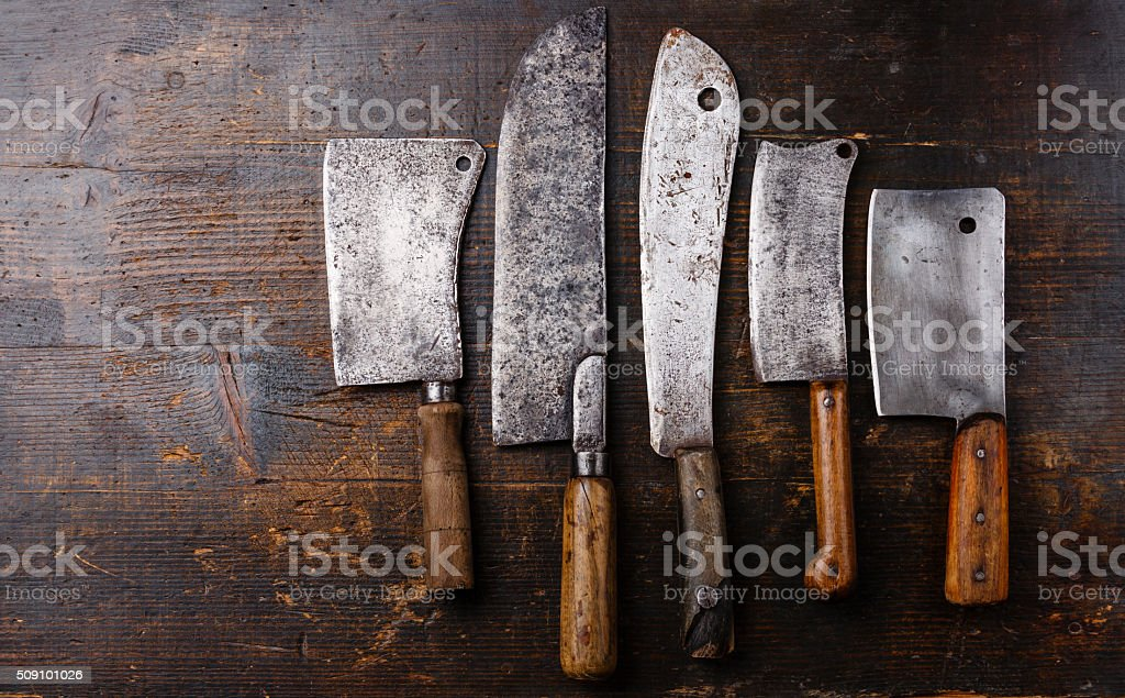 Butcher meat cleavers stock photo