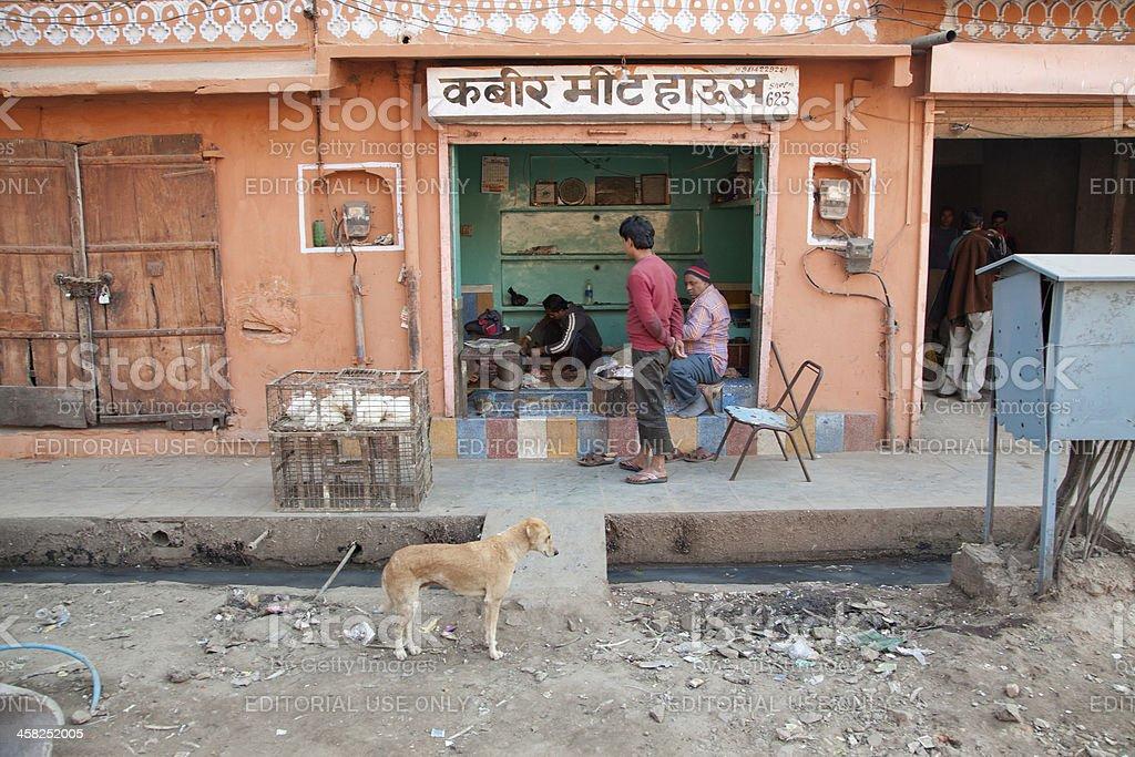 butcher shop at jaipur india royalty-free stock photo