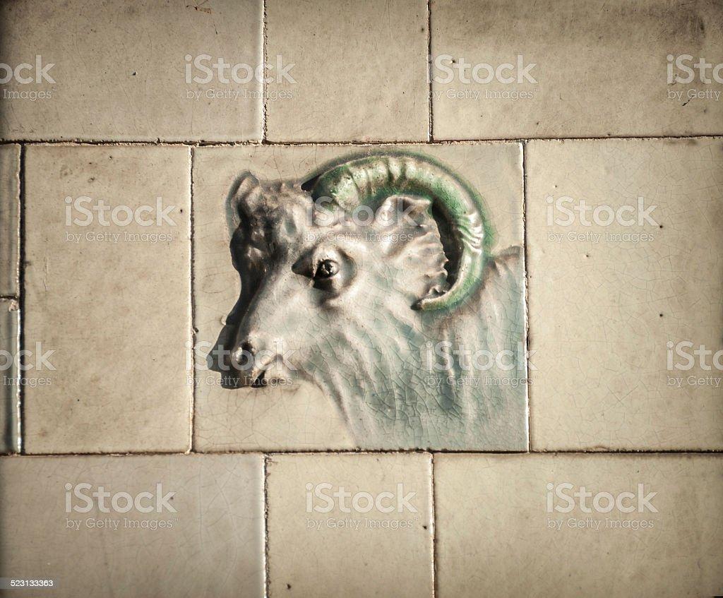 Butcher Shop Goat Tile stock photo