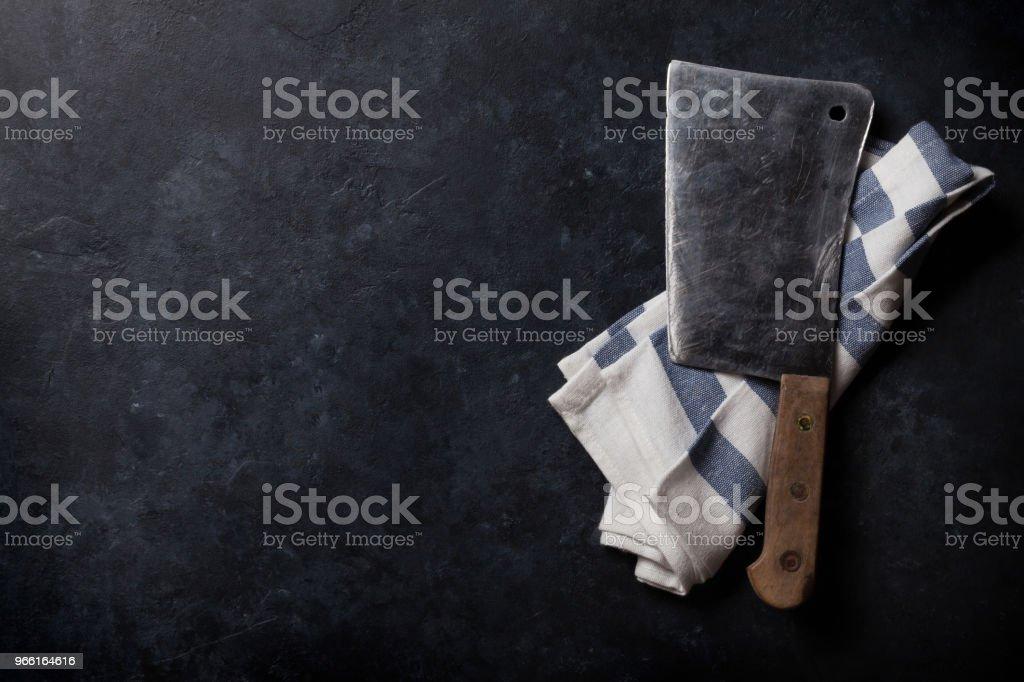 Butcher. Vintage meat knife - Royalty-free Above Stock Photo