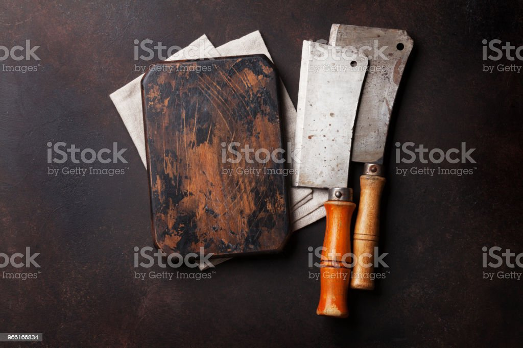 Butcher. Vintage meat knives and board - Royalty-free Above Stock Photo