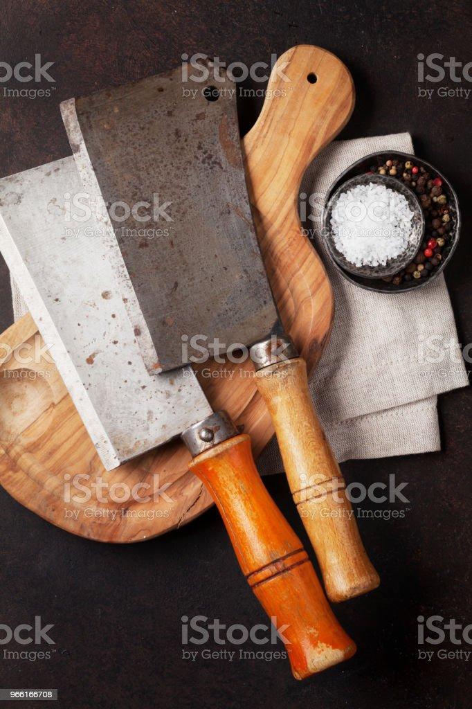 Butcher. Vintage meat knives - Foto stock royalty-free di Acciaio